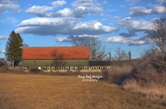 Shaw Barn Cloudy Sky Sutton, MA Photograph 5x7 8x10 11x14