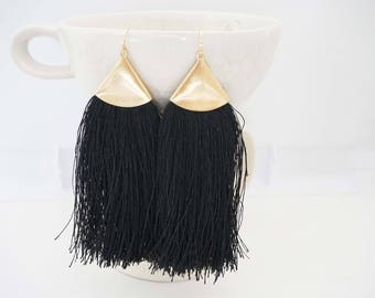 Black and Gold Long Tassel Statement Earrings