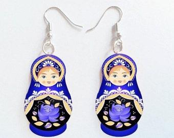 Russian Dolls Matryoshka Art Charm Earrings Blue Color