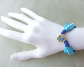 Leather cuff bracelet, Turquoise leather bracelet, Charm bracelet, Friendship bracelet
