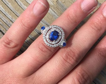 Art Deco 2.50ctw Bright Blue and White Sapphire Sterling Silver Halo Ring Estate Vintage Wedding Engagement Anniversary