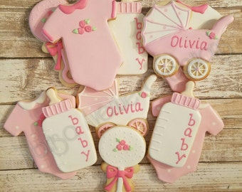 12 Baby Girl Sugar Cookies - Baby Girl Shower Dessert - Girl Baby Shower Favors - Baby Girl Baby Shower Cookies - Baby Girl Cookies