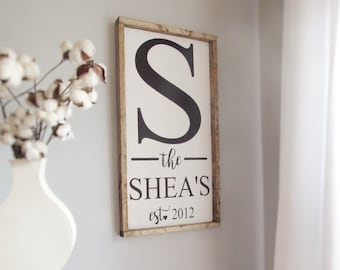 Monogram sign, farmhouse sign, wood sign, frame wood sign, rustic sign, personalized wood sign, personalized sign