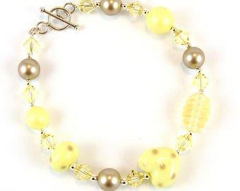 Lemon & Beige Handmade Lampwork Glass Sterling Silver Bracelet