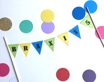 Birthday cake topper banner flags bunting / personalised name cake topper / Custom name cake flags