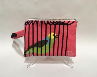Clutch Purse // Pencil Case // Bag // Accessory // Gift // Bird // Birdcage // Animal