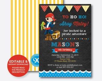 Instant Download, Editable Pirate Birthday Invitation, Pirate Invitation, Pirate Party Invitation, Pirate Boy Invitation, Chalkboard(CKB.47)
