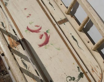 Bow Runner Sled / Rosebud Artwork on Authentic Childs Sled  / Amazing Vintage Relic / Original Faded Paint / Citizen Kane Reference?