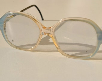 vintage LOZZA 841 MD2 48-14 130 small women/girls' transparent with pale blue accent  eye / sunglasses frame made in Italy New