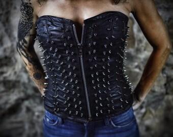 Black Leather Spike Corset