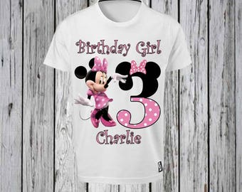 Minnie Mouse Pink dress, Pink Bow with Number and Name Iron Tshirt Design FILE ONLY! Black and Pink Number with Bow- Minnie Mouse Birthday