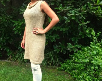 Dress, linen and alpaca dress, hand knitted dress, Woman dress