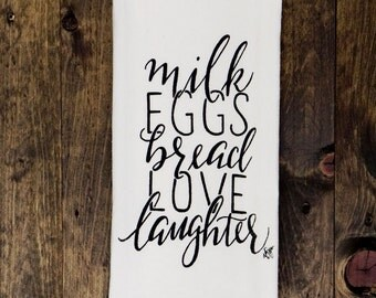 Tea Towel / Milk Eggs & Love