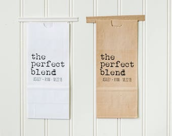 The Perfect Blend Tin Tie Wedding Favor Bags - Coffee Favors, Tea Favors, Treat Bags, Bridal Shower Favors