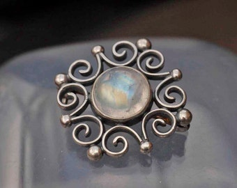 English Silver Arts and Crafts Style Blue Flash Moonstone Flower Brooch