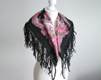 Vintage black floral fringe scarf