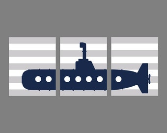 Navy blue and gray Submarine Silhouette Boy Nursery Wall Art Decor, Submarine Set of 3, 8x10, Submarine INSTANT DOWNLOAD