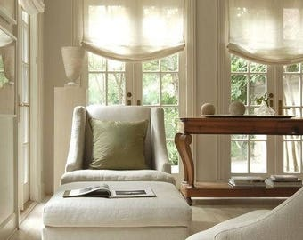 """Relaxed Sheer Roman Shade """"Lucky Cameo"""" in Beige linen sheer look, with chain mechanism, Linen Roman Shades, Window Treatment, Custom Made"""