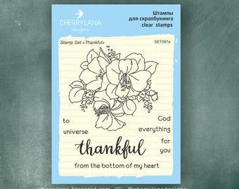 "Cherrylana Tnankful Stamp Set 4x6"" Clear Photopolymer"