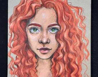 Red Curls Prismacolor drawing