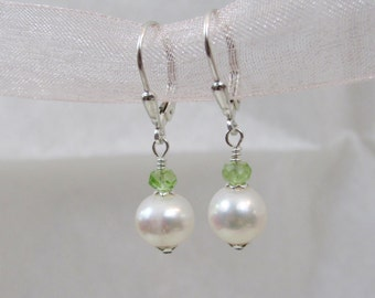 Pearl and Peridot Leverback Earrings, Freshwater Pearls, Peridot Gemstone, Sterling Silver, Wedding Jewelry, Bride, Bridesmaid Earrings