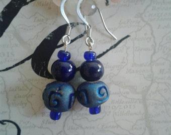Lovely Navy Blue Ceramic Dangle Earrings