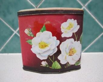 Vintage Toffee Tin - Orange - White Roses - Shabby