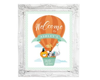 Hot Air Balloon Welcome Sign, Jungle or Safari Welcome Sign, Animals Baby Shower, Welcome Sign, Printable sign, Baby Shower Welcome Sign