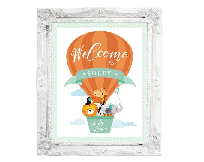 Hot Air Balloon Welcome Sign, Jungle or Safari Welcome Sign, Animals Baby Shower, Welcome Sign, Printable sign, Baby Shower Welcome Sign