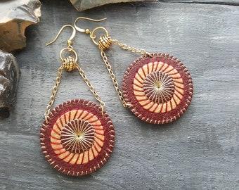Burgundy red leather earrings, Circle earrings, Mandala earrings, Gold boho earrings, Bohemian dangle earrings, Boho leather jewelry.