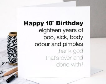 Funny 18th Birthday Card; 'Eighteen Years Of Poo…'; GC060