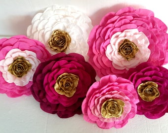 6 large paper flowers giant paper flowers pink bridal kate shower spade baby shower paper flowers wedding bakdrop Paper wall Floral Decor