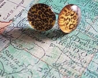 Leopard print handcrafted rockabilly animal earrings