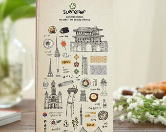 The Beauty Of Korea Sticker | Suatelier Stickers, Korean Cute Stickers, Cute Craft Supplies (1062)