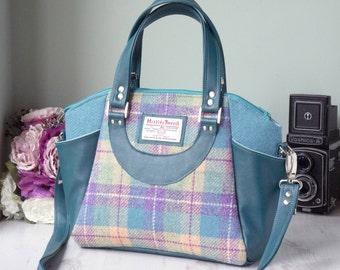 Harris Tweed Handbag in turquoise, teal, lilac tartan   shoulder bag   Plaid bag handmade in the United Kingdom   Gifts for women