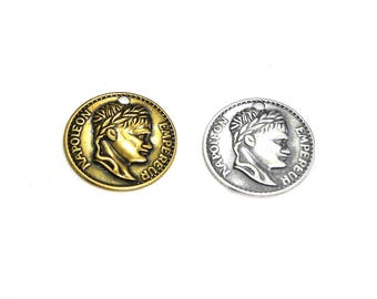 2x Trinity Brass Coin Charm, Coin Pendant 16 mm - Antique Gold or Antique Silver