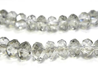 Faceted Glass Briolette Beads, Glass Rondelle Beads 8mm - Black Diamond