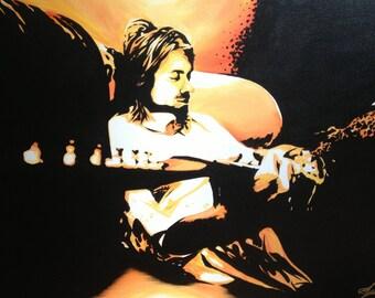 "Giclee Canvas Print *embellished - ""Kurt Cobain Contrast"""