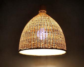 Hand Woven Oval Shape Bamboo Light FixturesPendant