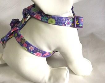 Dog harness, purple dog harness, Easter dog harness, butterfly dog harness, adjustable dog harness, puppy harness, purple buckle