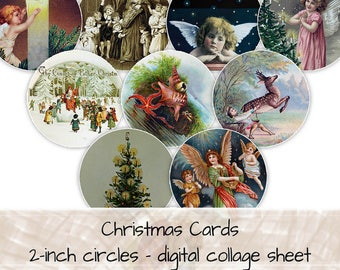 British Norwegian Victorian Christmas Card 2-inch circles digital collage sheet 0161