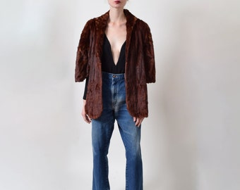 Brown Mink Fur Stole with Shawl Collar Fur Capelet 1950s Vintage Classic Style S M L Xl