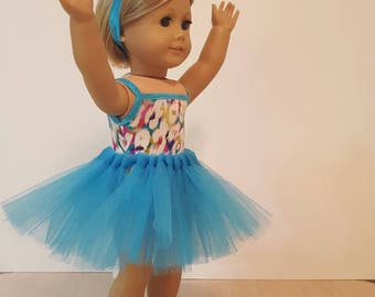 """Recital Costume:  Glitzy Leotard With Turquoise Tutu and Pompom Headband For American Girl Doll Or Any Other 18"""" Doll"""