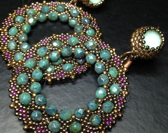 "handmade earrings ""Medea"" weaving precision crystals beads"