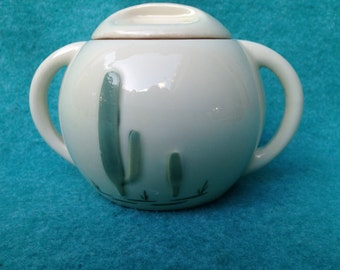 Porcelier Vitrified China Santa Fe Mexican Cactus Sugar Bowl With Lid