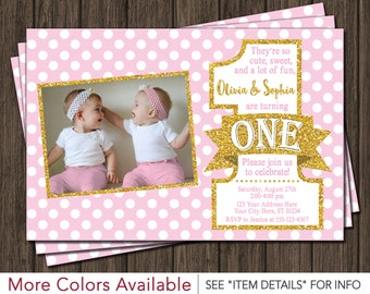Twins Birthday Invitation Tutus and Ties Invitation Boy