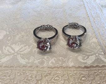 2 Faux DIAMOND Engagement RING KEY Chains Fobs Keychains Key Rings