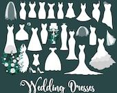Wedding Dresses Clipart, Wedding dress clip art vectors, bridal veils, png eps wedding cake, white rose bouquet digital instant download