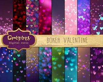 Bokeh Valentine Digital Paper, bokeh hearts backgrounds, love sparkle printable scrapbook paper, romantic heart glitter lights textures