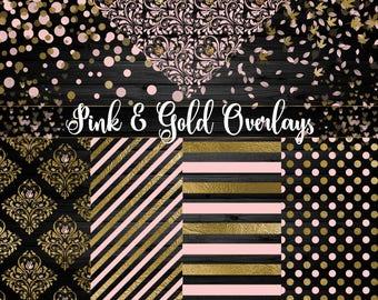 Pink and Gold Overlays for Digital Paper, Scrapbooking, Invitations, blush gold rose, embellishments, png patterns instant digital download
